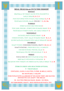 Menu Week 18 May